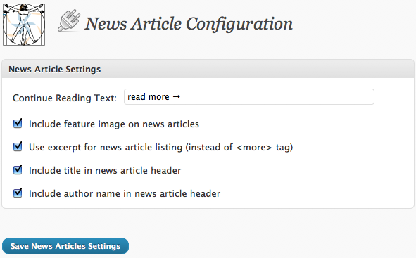 News Article Plugin Admin Screen