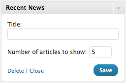 News Articles Widget Settings