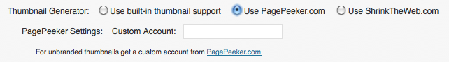 WEBphysiology Portfolio Plugin PagePeeker Settings