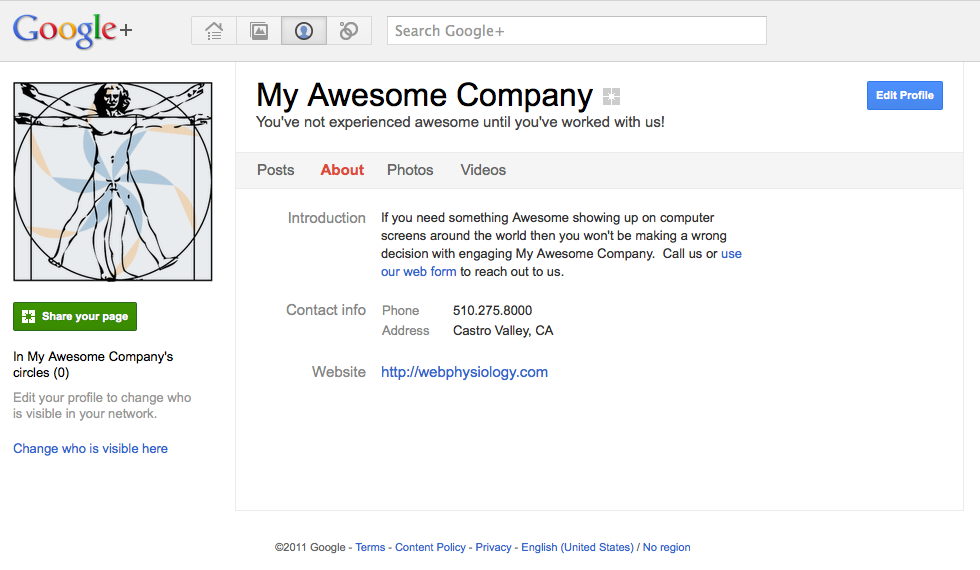 Google+ Completed Company Page